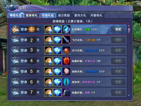 《蜀山缥缈录》游戏资料:登录有礼(每日)